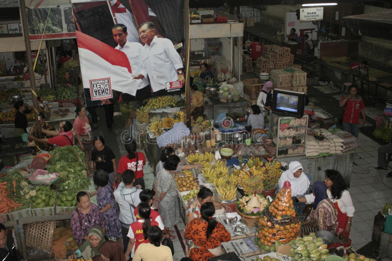A number of Gede Market Traders Celebrate Victory. Election of the President of Indonesia Joko Widodo be Gede Market traders make do with kissing excitement Joko stock photos