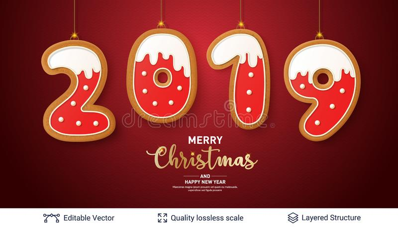 2019 number of Gingerbread cookies on red banner. vector illustration