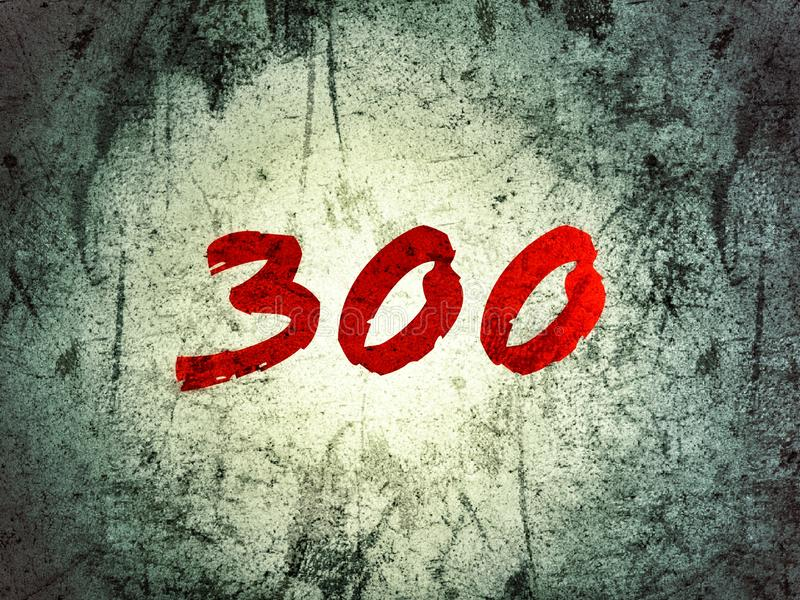 The number 300 on the grunge background in red color vector illustration