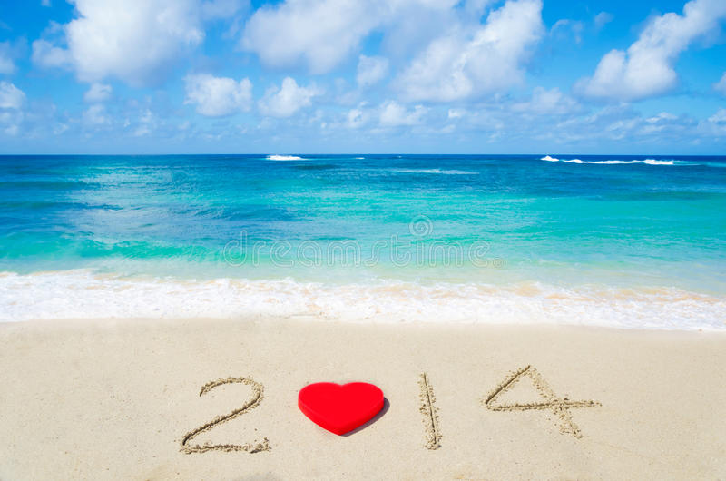 Download Number 2014 With Heart Shape On The Sandy Beach Stock Image - Image: 33356617