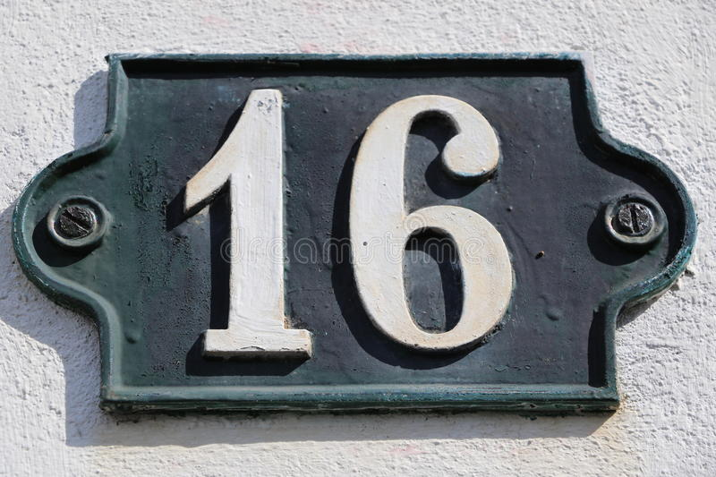 Number 16. House number 16 in the city of Saint Cloud, France stock photo