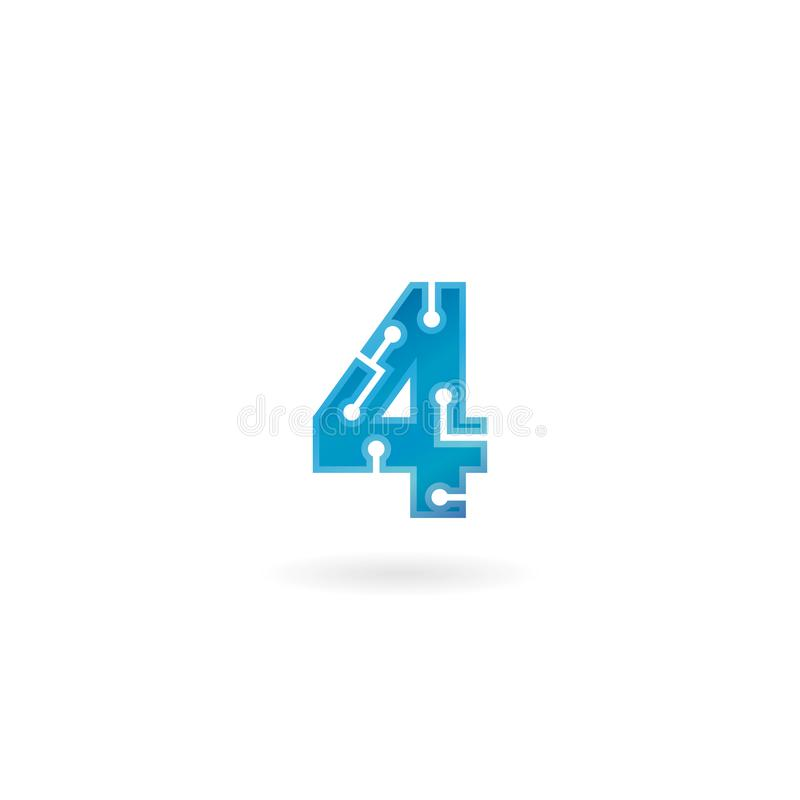 Number 4 icon. Technology smart four logo, computer and data related business, hi-tech and innovative, electronic. Number 4 icon. Technology smart four logo stock illustration