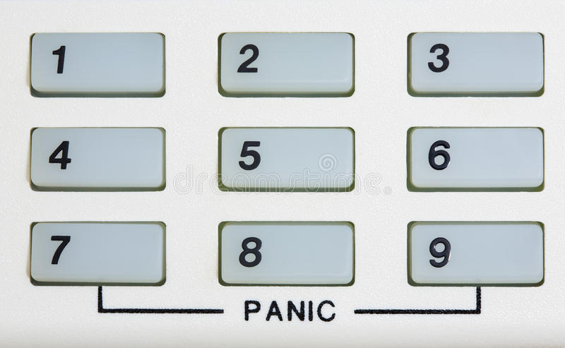Number keypad with Panic. A keypad of numbers 1-9 and thew word PANIC written at the bottom stock photography