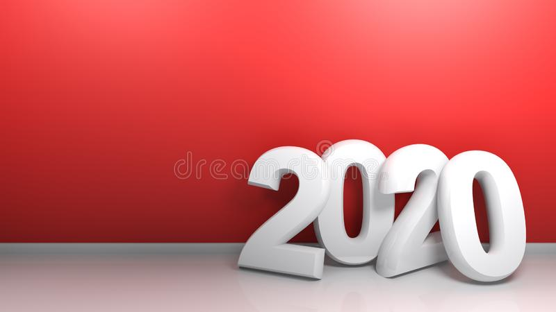 2020 at red wall - 3D rendering royalty free stock photo