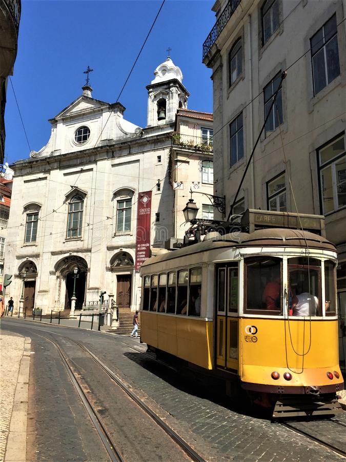 Tram on the streets of Lisbon Portugal royalty free stock image
