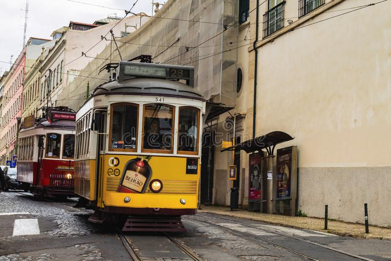 The number 28 Lisbon tram, considered one of the main attractions of the city royalty free stock image
