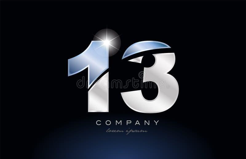 metal blue number 13 logo company icon design royalty free illustration