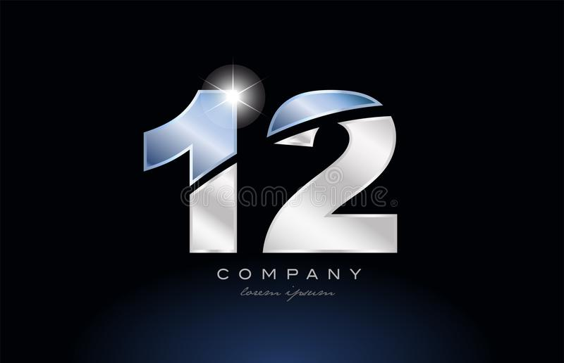 metal blue number 12 logo company icon design vector illustration