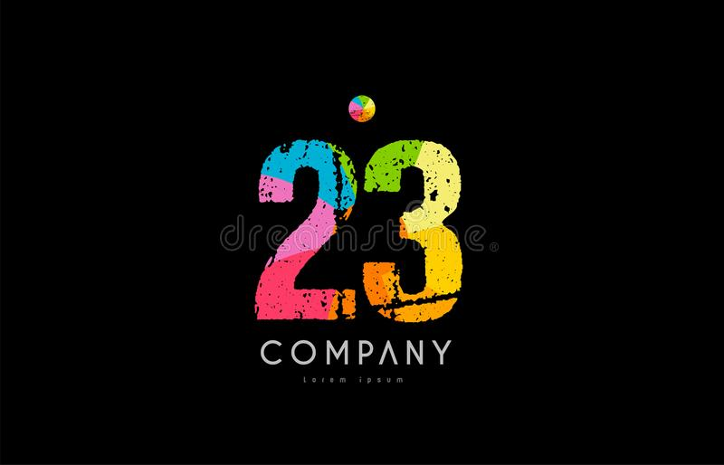 23 number grunge color rainbow numeral digit logo. Number 23 logo icon design with grunge texture and rainbow colored pattern royalty free illustration
