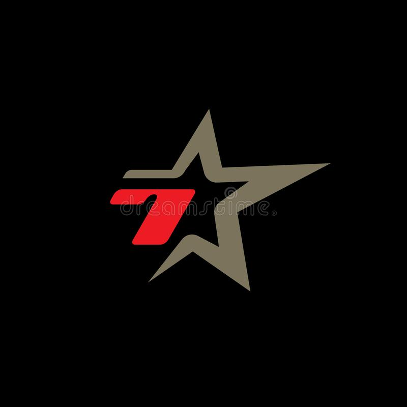 Number 7 logo template with Star design element. Concept vector illustration