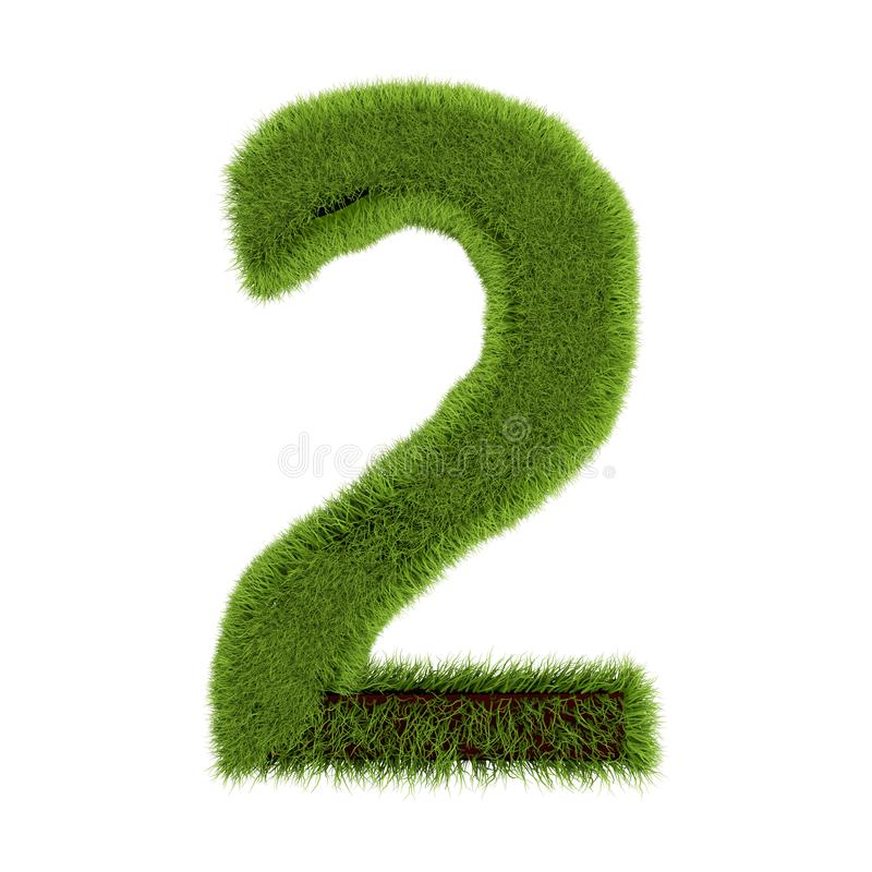 Number 2, made of grass isolated on white background. Symbol covered green grass. Eco letter. 3d illustration stock illustration