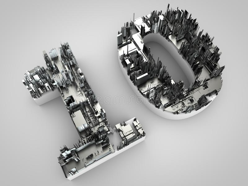 Number 10 made out of technical stuff. Silver colored number ten made out of technical stuff royalty free illustration
