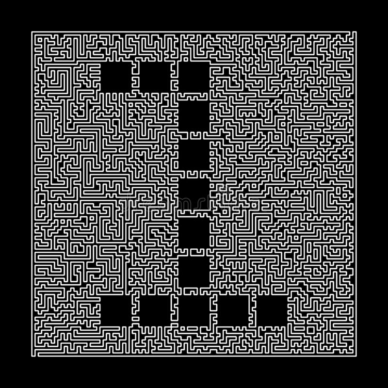 Number 1 in the maze frame. Labyrinth technical letters linear style font. Illustration isolated on black stock illustration