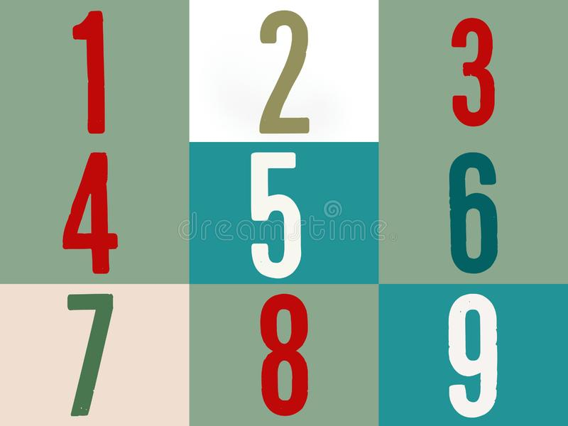 Number in multicolor on colorful background one two three four five six seven eight nine. Number multicolor colorfull background one two three four five six vector illustration