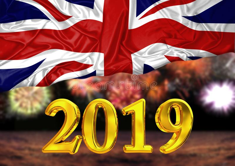 Number 2019, new year, behind the flag of United Kingdom, background fireworks stock illustration