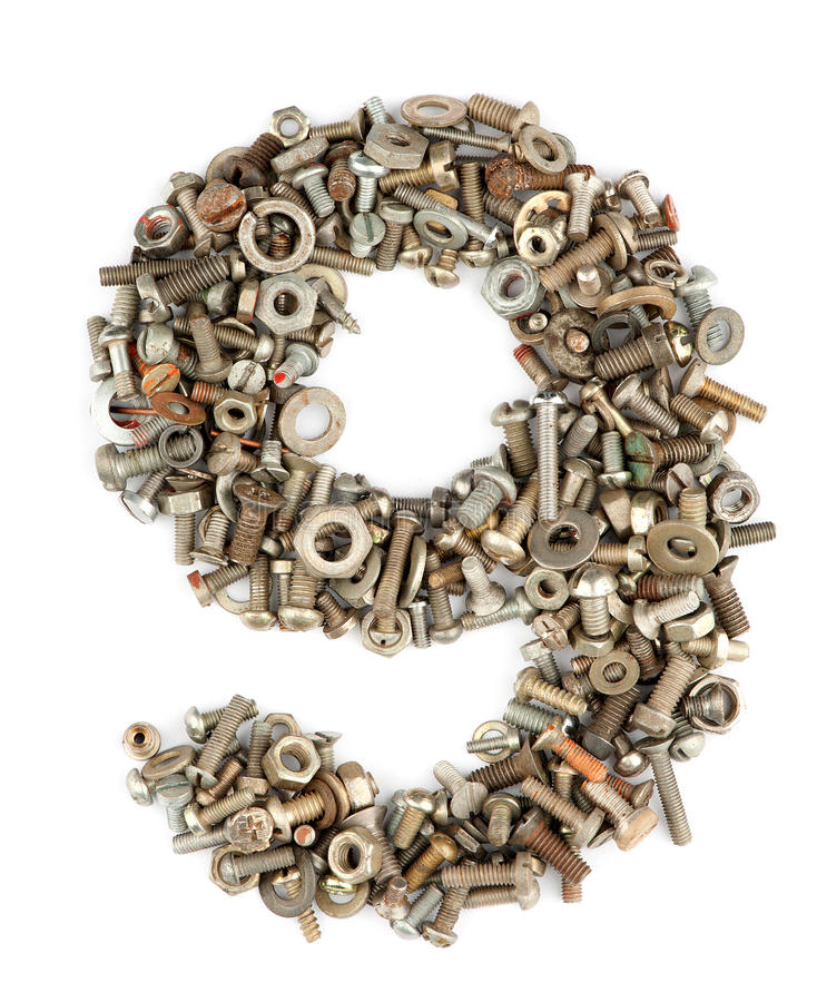 Number nine. Numbers made of bolts - nine royalty free stock photos