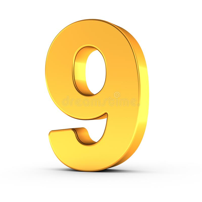 The number nine as a polished golden object with clipping path stock photography