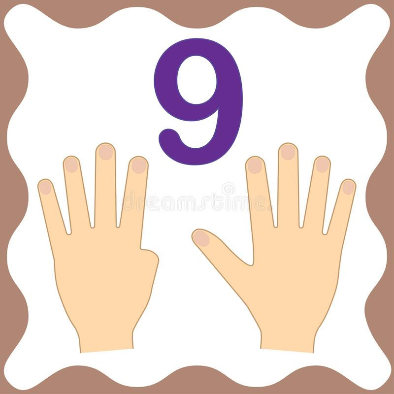 Number 9 nine, educational card,learning counting with fingers stock illustration