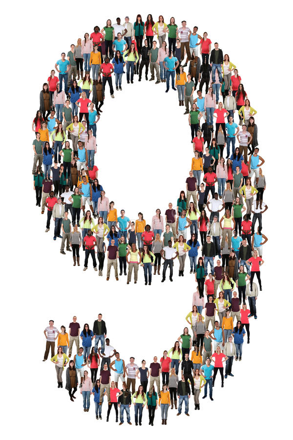 Number nine 9 group of people royalty free stock photos