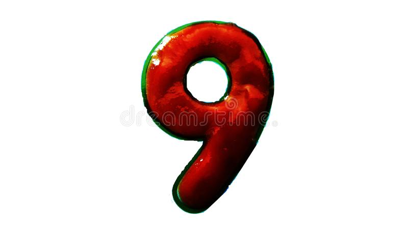 Number Nine made with tomato catchup isolated on white background. Event, greeting, happy, new, festive, year, celebration, party, silvery, holiday, message royalty free stock photos