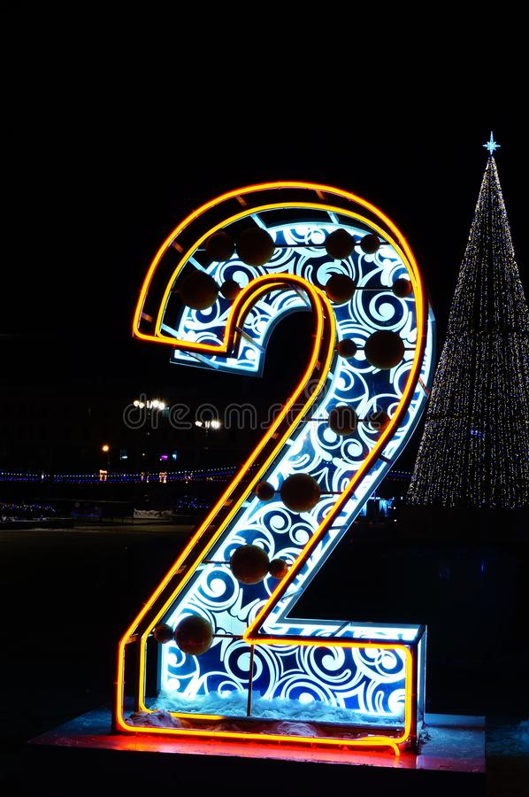 Number nine neon lights Two thousand two. Number nine neon lights Two thousand nineteen night city lightsnight city lights big figure two stock photo
