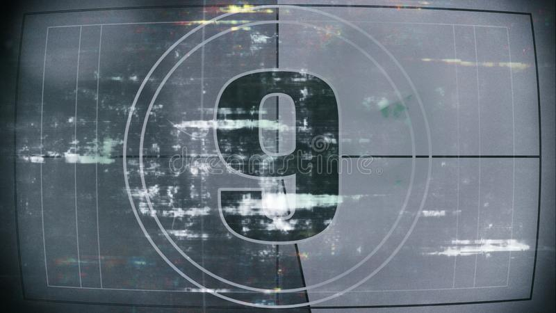 Number nine of old film countdown leader with grain royalty free illustration