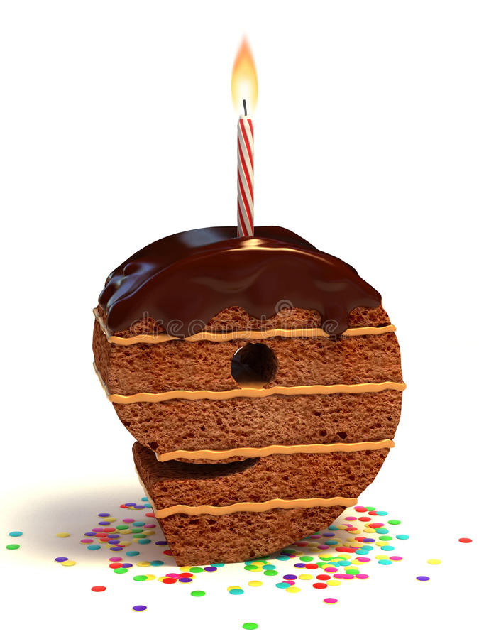 Number nine shape birthday cake stock illustration