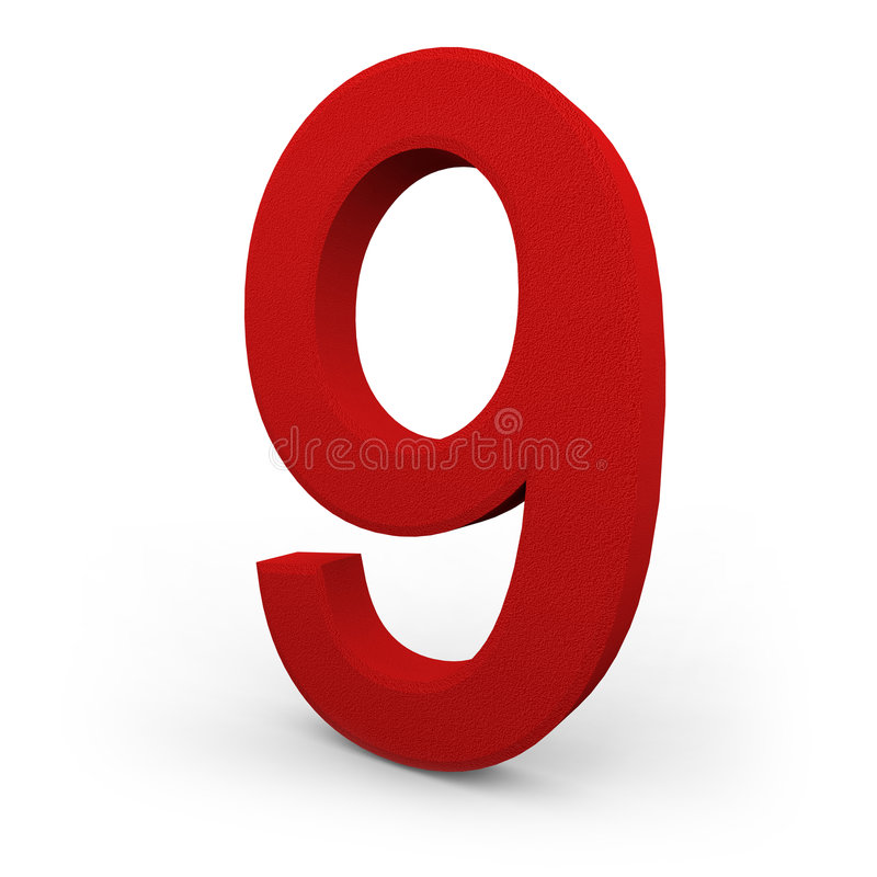 Number Nine on White Background. A red number nine with texture sits on white background stock illustration