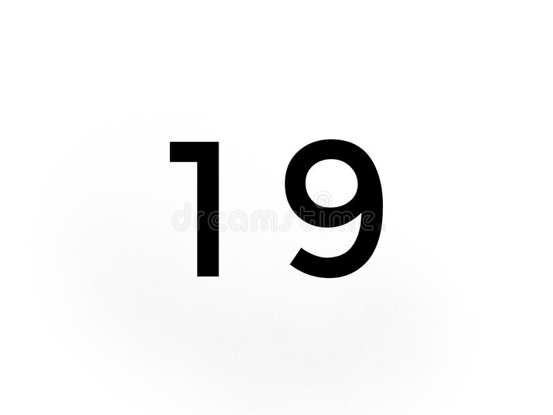 Number nineteen 19 in black color. Number  nineteen bla blac black col colo color royalty free stock photography