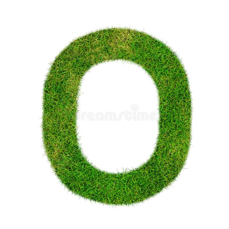 Number 0 null made of grass - aklphabet green environment nature. Ecology stock illustration
