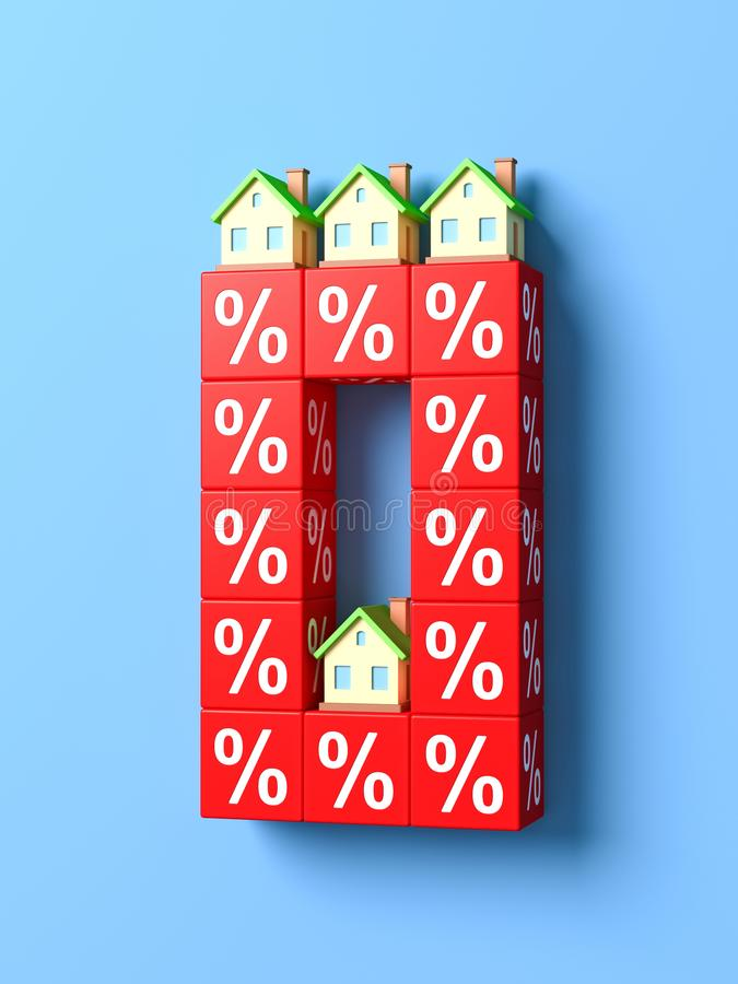 Number Null With Miniature Houses And Red Percentage Blocks. 3d Illustration vector illustration