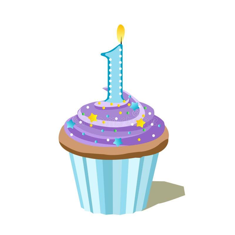Number one blue cupcake vector illustration