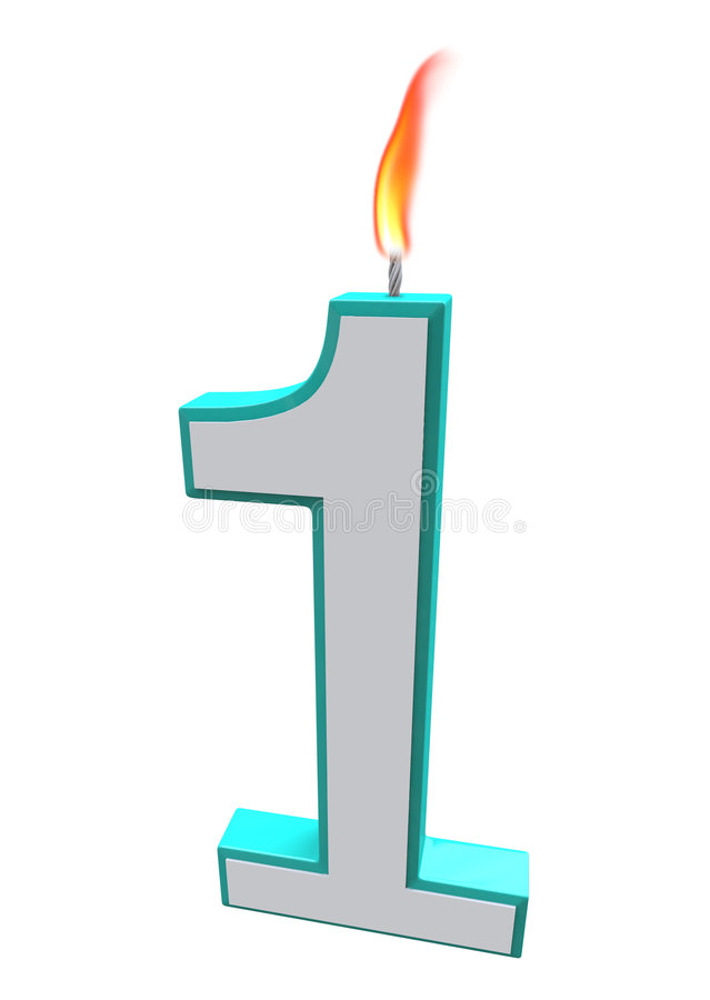 Number One Candle. A blue and white number 1 candle with fire on wick stock illustration
