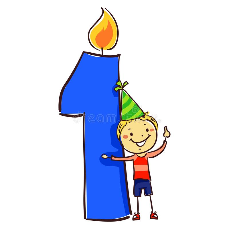 Vector Illustration of Number one candle with stick Figure Little Boy Kid wearing party hat. Number one candle with stick Figure Little Boy Kid wearing party hat stock illustration
