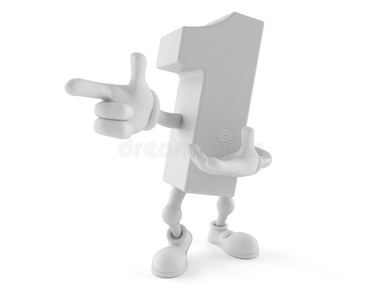 Number one character pointing finger vector illustration