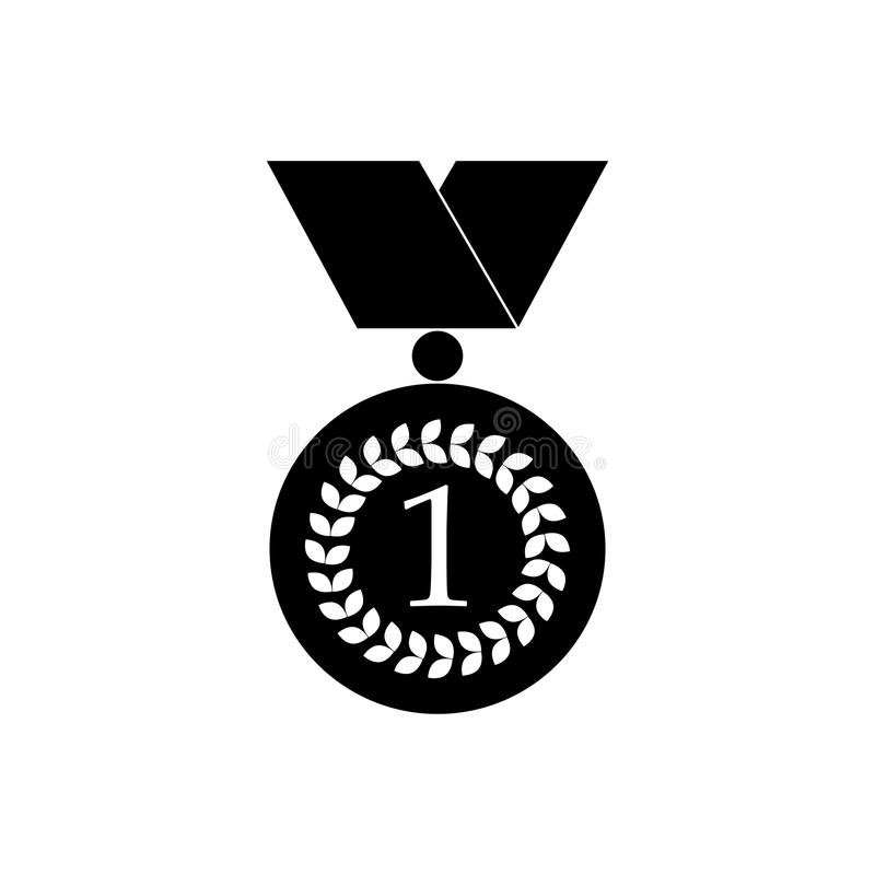Number one gold medal icon, black simple style stock illustration