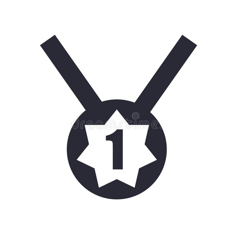 Number one medal icon vector sign and symbol isolated on white background, Number one medal logo concept. Number one medal icon vector isolated on white vector illustration