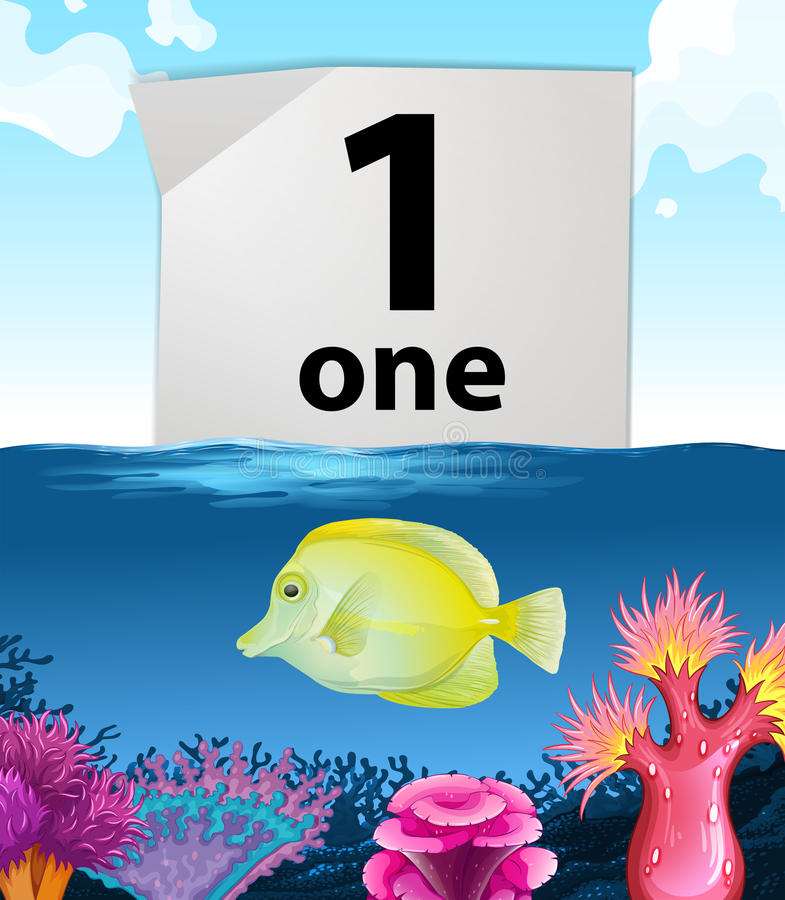Number one and one fish swimming underwater. Illustration stock illustration