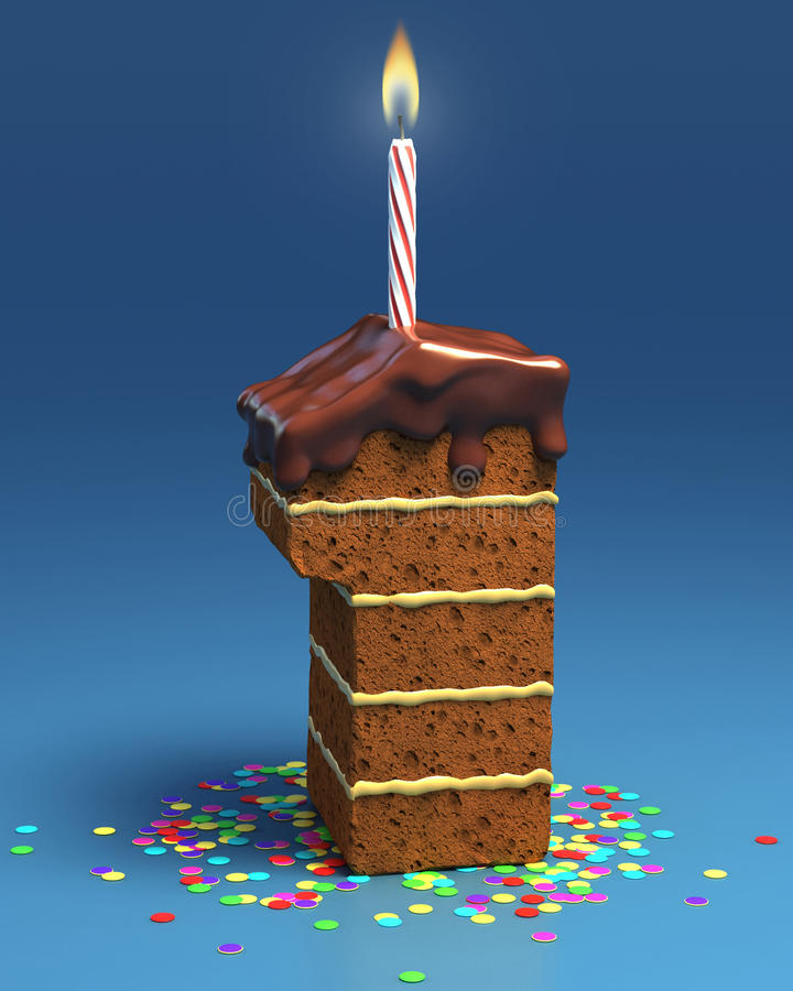 Number One Shaped Birthday Cake With Candle Stock