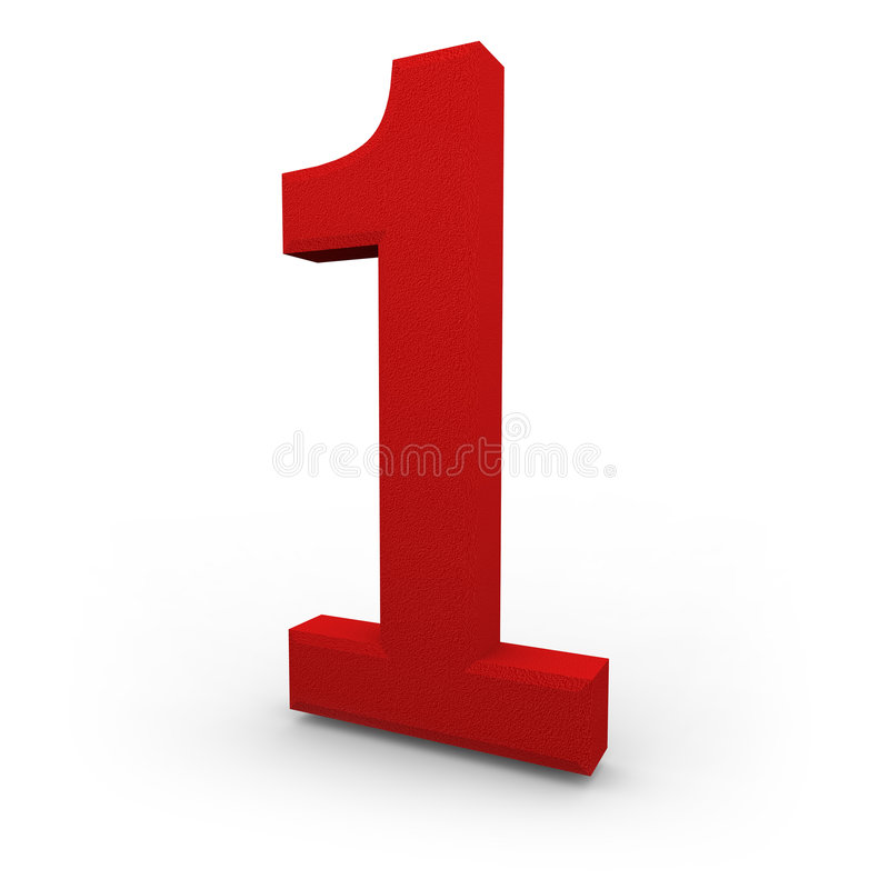 Number One on White Background. A red number one with texture sits on white background royalty free illustration