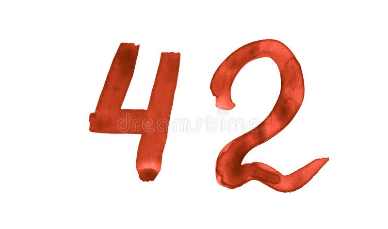 The number 42, painted with a brush in watercolor. Vintage symbol. Made by hand royalty free illustration