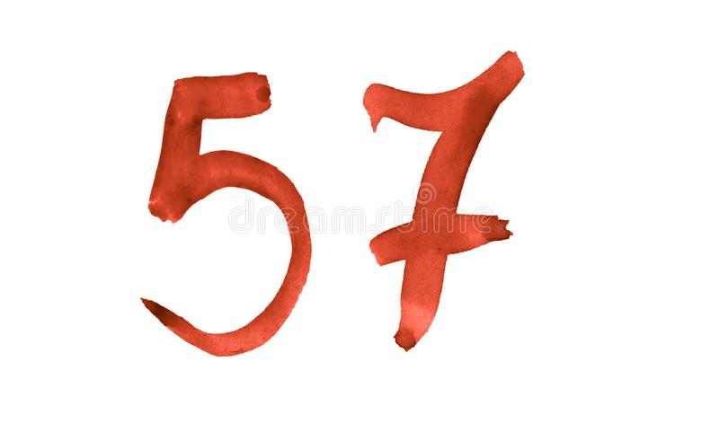 The number 57, painted with a brush in watercolor. Vintage symbol. Made by hand royalty free illustration