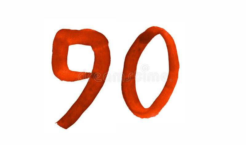 The number 90, painted with a brush in watercolor. Vintage symbol. Made by hand royalty free illustration