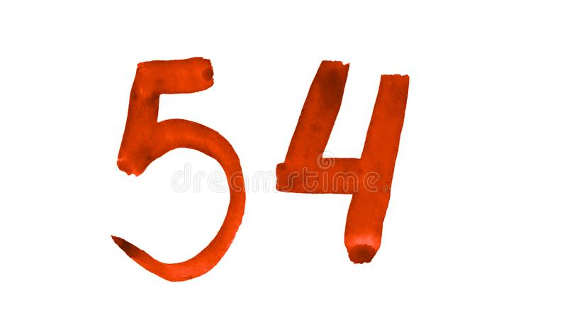 The number 54, painted with a brush in watercolor. Vintage symbol. Made by hand stock illustration