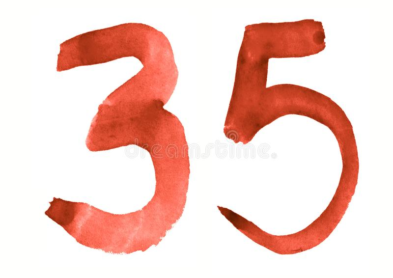 The number 35, painted with a brush in watercolor. Vintage symbol. Made by hand royalty free illustration