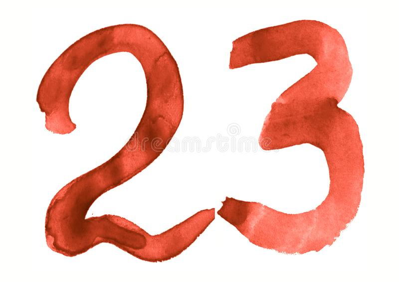 The number 23, painted with a brush in watercolor. Vintage symbol. Made by hand stock illustration