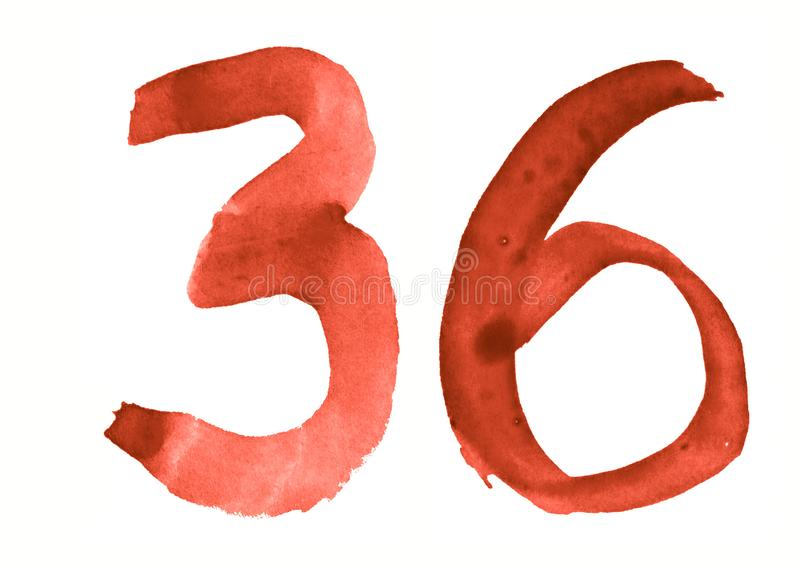 The number 36, painted with a brush in watercolor. Vintage symbol. Made by hand vector illustration