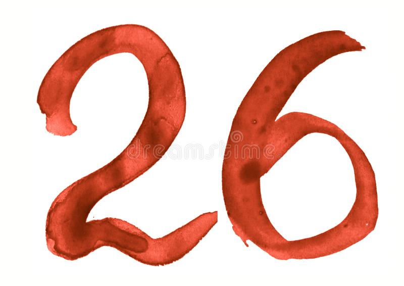 The number 26, painted with a brush in watercolor. Vintage symbol. Made by hand royalty free illustration