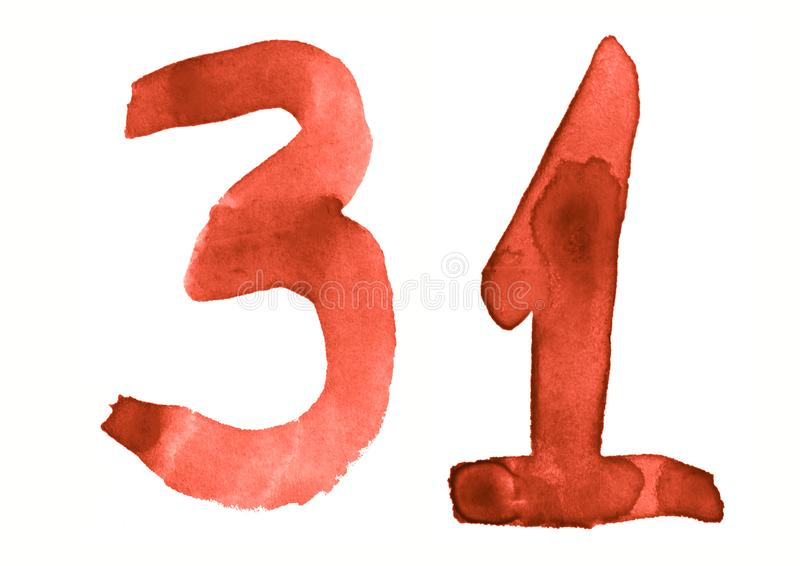 The number 31, painted with a brush in watercolor. Vintage symbol. Made by hand royalty free illustration
