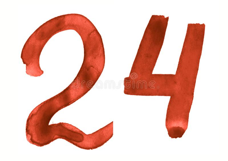 The number 24, painted with a brush in watercolor. Vintage symbol. Made by hand royalty free illustration